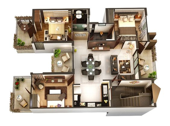 Layout Rumah 3 Kamar 4